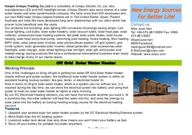 Off grid Solar Water Heater