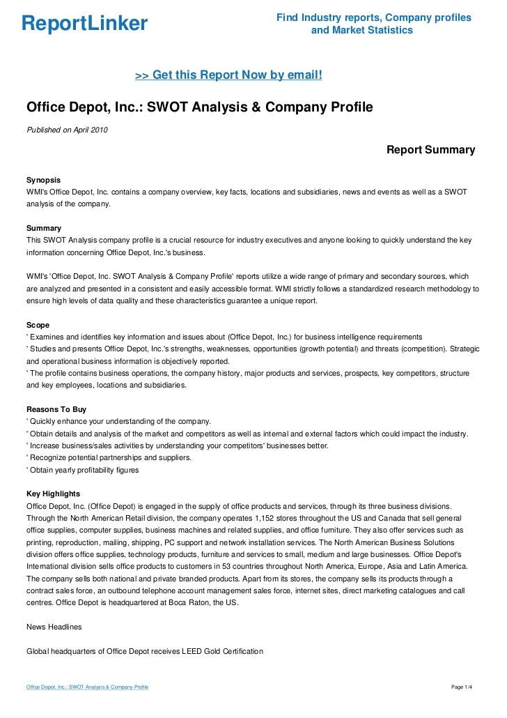 an analysis of office depot case study Merger regulation, of the whole of the undertaking office depot, inc (office   was presented as an independent market study, only []'  therefore, the  analysis of staples' sales data for international and large customers.