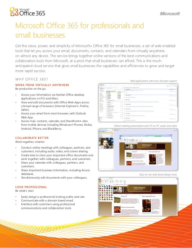 Microsoft Office 365 for professionals andsmall businessesGet the value, power, and simplicity of Microsoft® Office 365 fo...