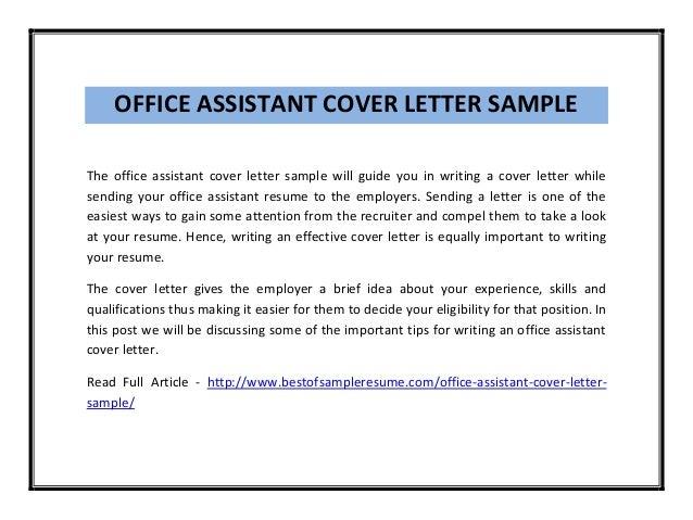 teacher assistant cover letter sample - Sample Cover Letter For Resume For Office Assistant