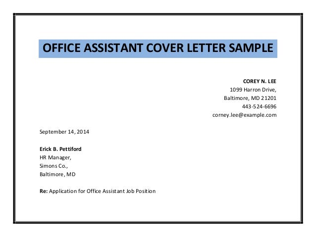 office assistant cover letter sample simple. Resume Example. Resume CV Cover Letter