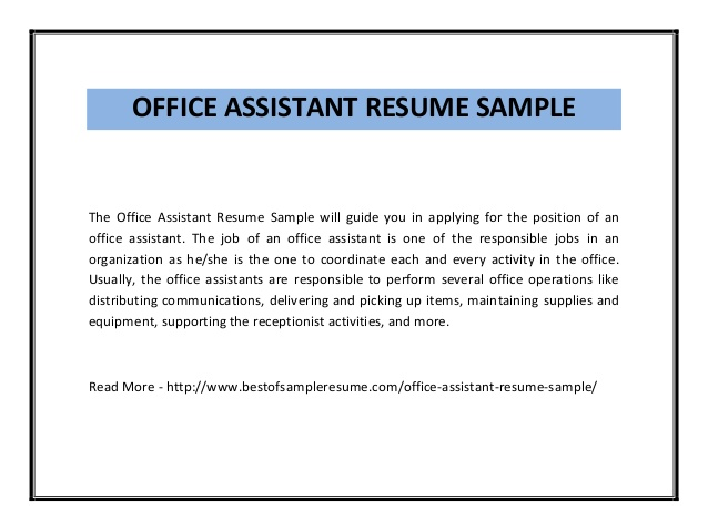 Dental Office Assistant Resume Best Resume Example  Office Assistant Resume Examples