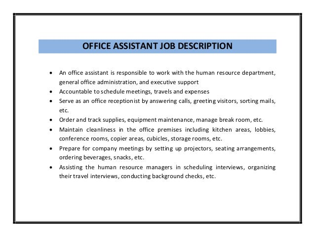 administrative assistant sample job description
