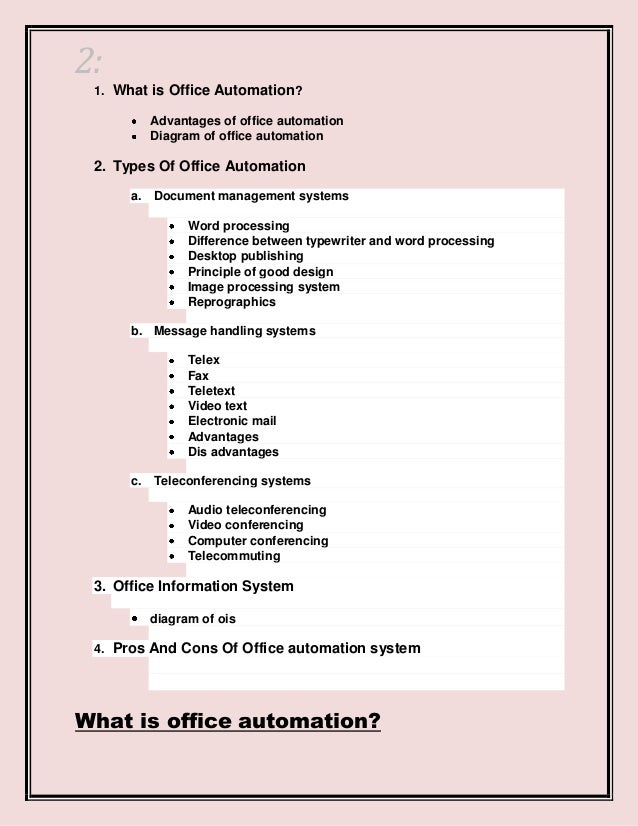 contents 2 2 1 what is office automation advantages advantages of office automation
