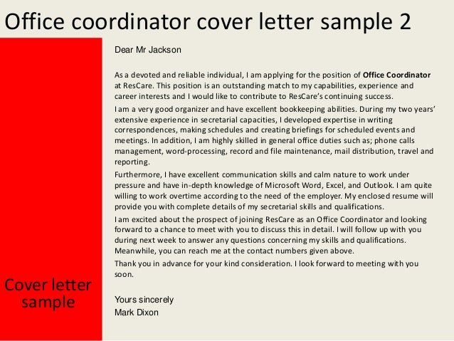office coordinator cover letters