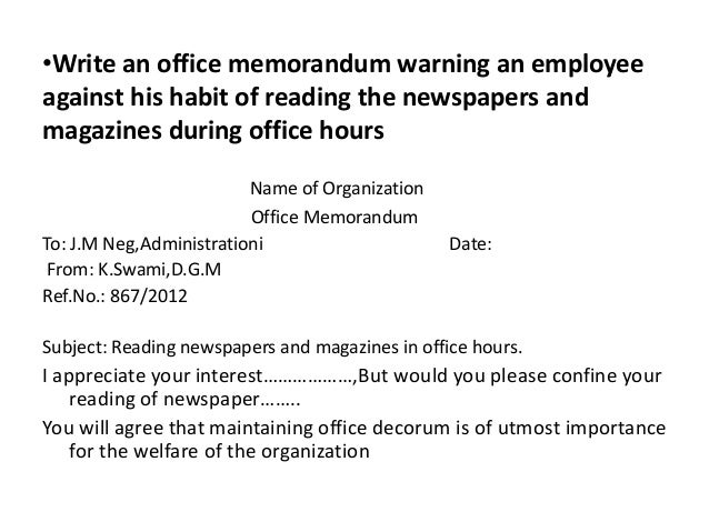 How to write an office memorandum