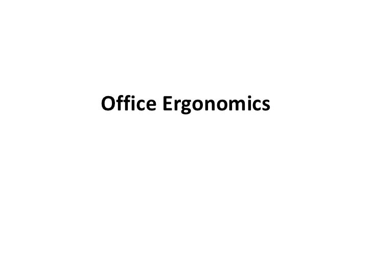 Office Ergonomics Training