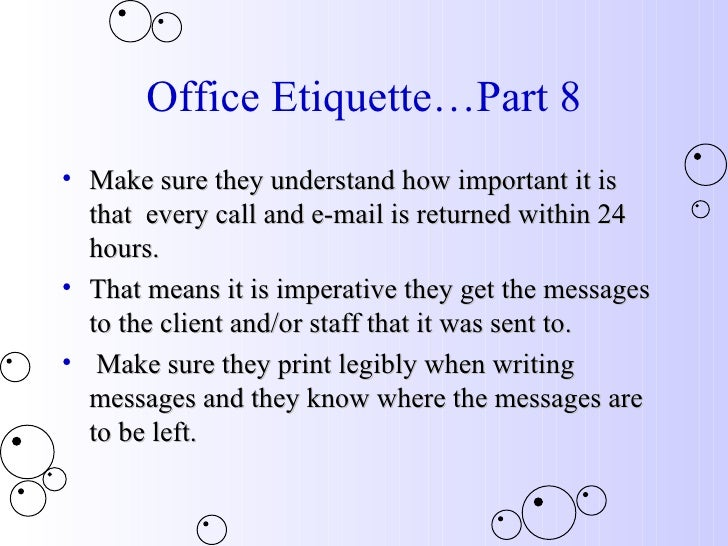 workplace etiquette essay Communicating effectively and appropriately for the workplace is also an  essential  just the facts: the face of the workplace is constantly evolving  as one.