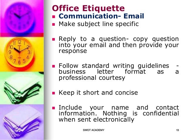 office etiquette essay No matter what your position, you are serving as a role model for others in your office habitual swearing is a bad example to set in front of anyone, but especially new hires, interns, and those.