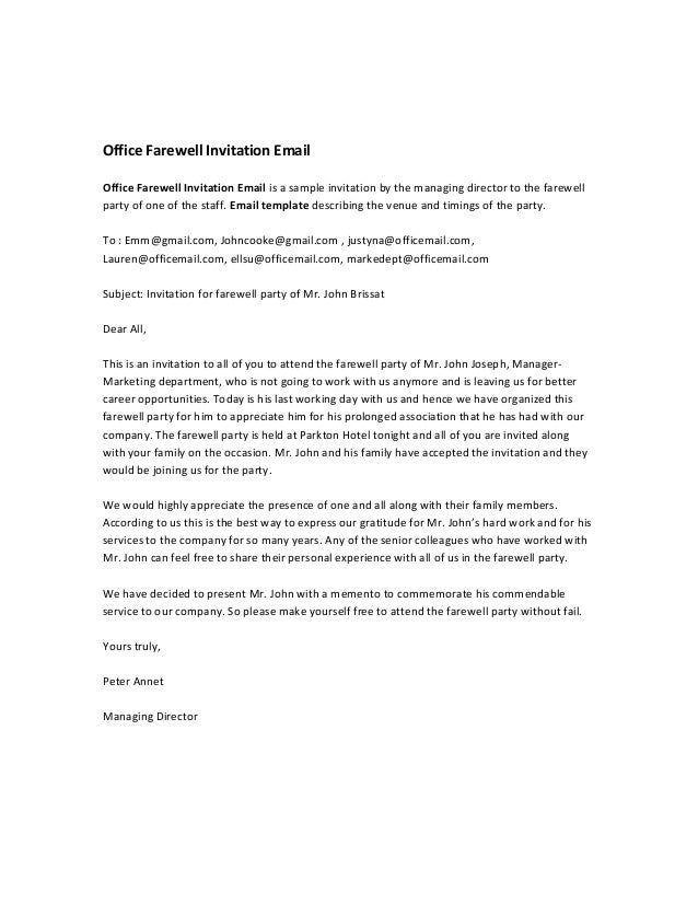 Office Farewell Invitation EmailOffice Farewell Invitation Email is a ...