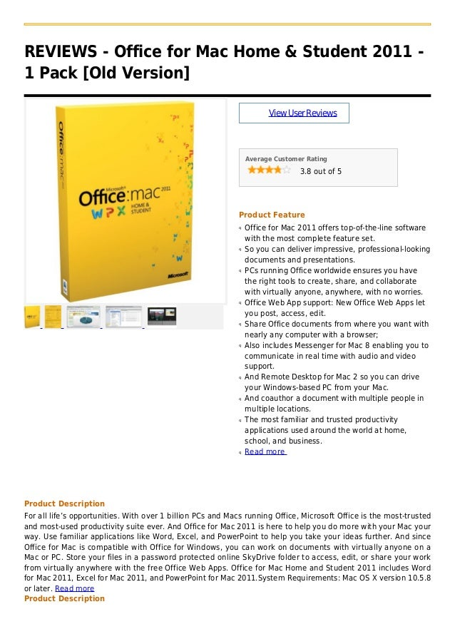 Office for mac home & student 2011   1 pack [old version]