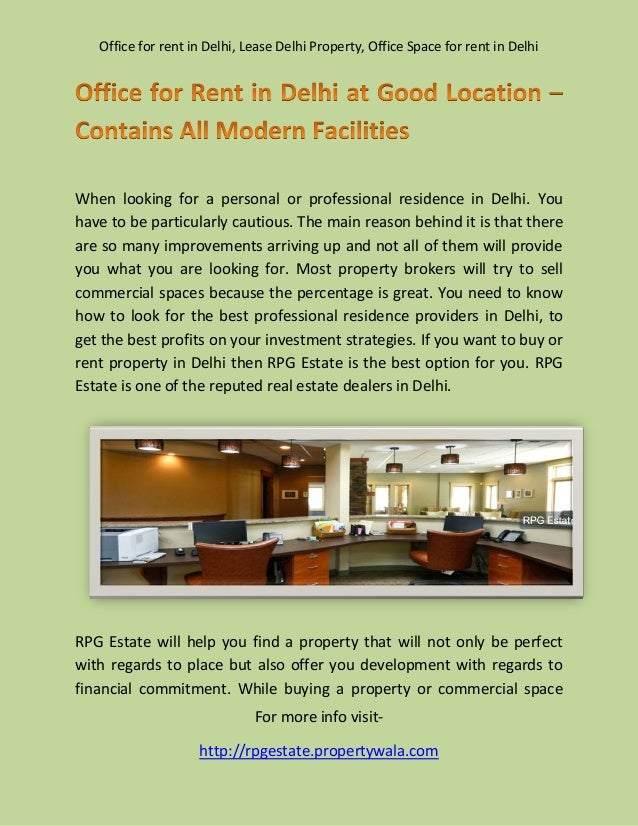 Office for rent in delhi at good location – contains all modern facilities