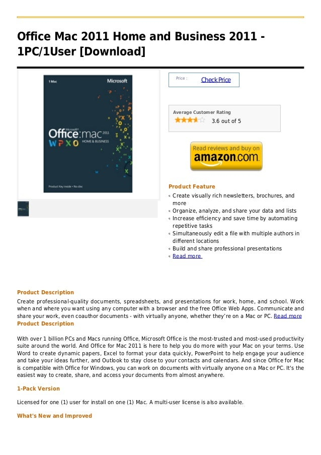 Office Mac 2011 Home and Business 2011 -1PC/1User [Download]                                                              ...