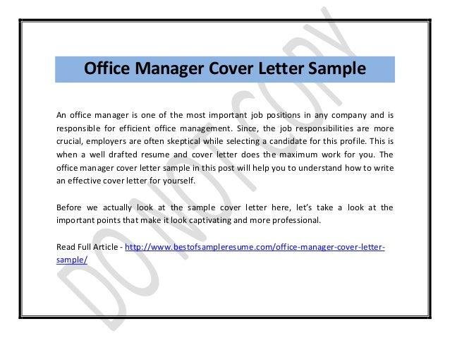 Cover Letter Management Position