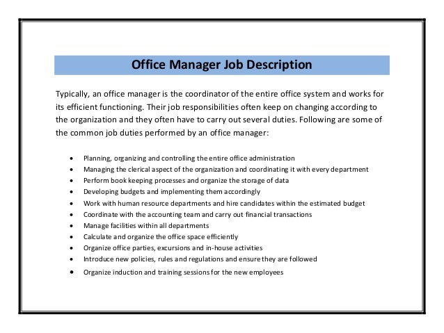 Office Manager Duties For Resume,Office Manager Job Description ...