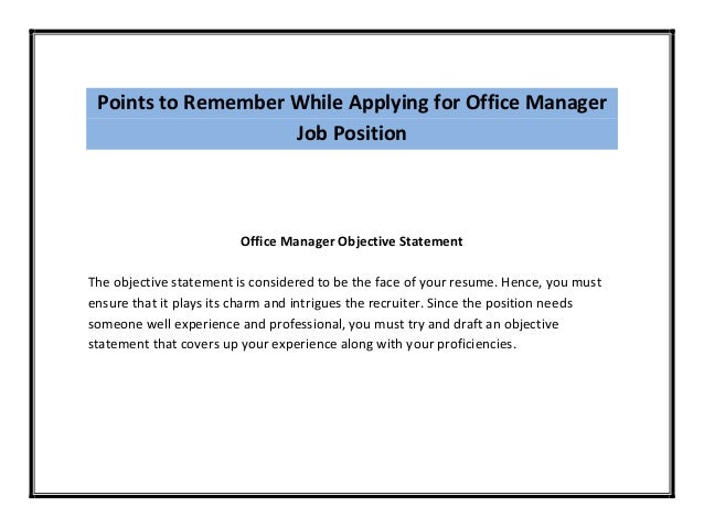 points to remember while applying for office manager job position