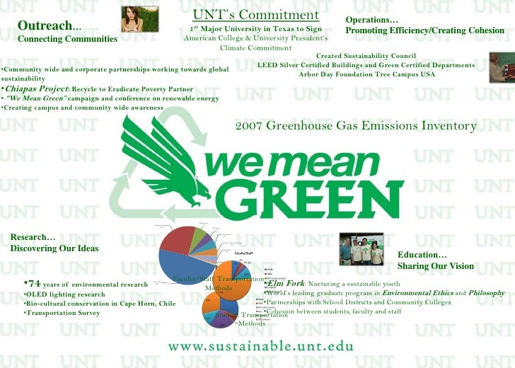 UNT's Commitment <br />1st Major University in Texas to Sign<br />American College & University President's <br />Climate ...