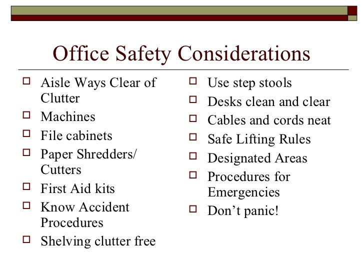 Office Safety With Visual Exam At End