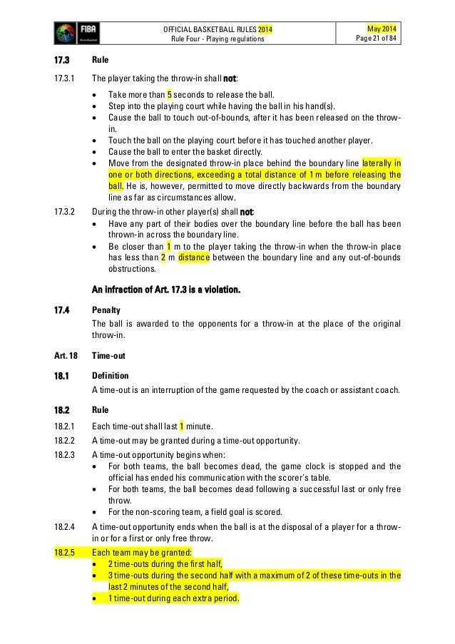 basketball 21 game rules