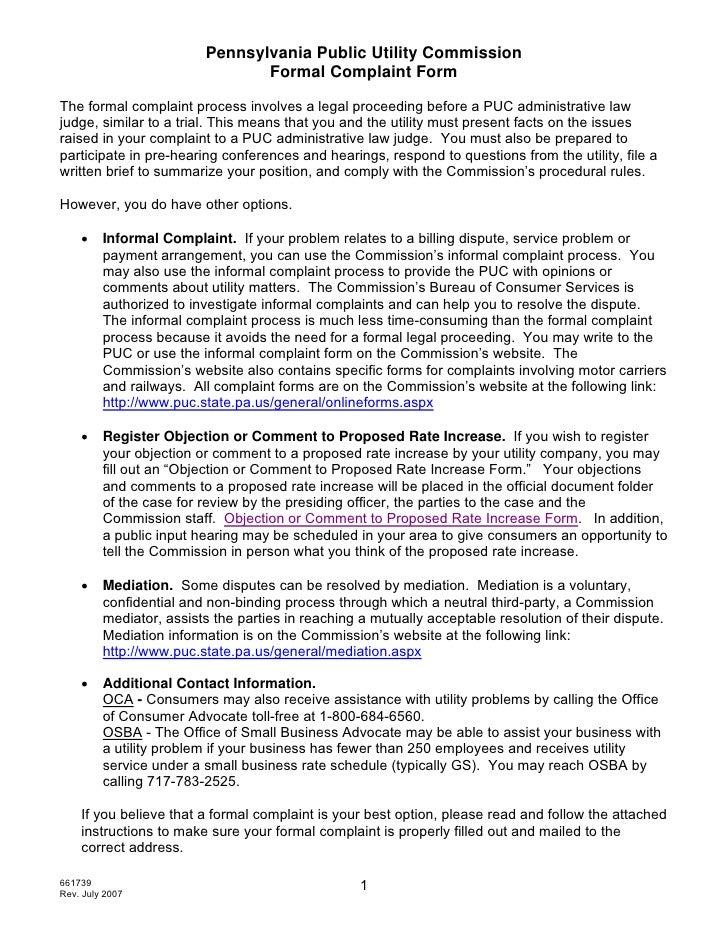 Pennsylvania Public Utility Commission                                 Formal Complaint Form  The formal complaint process...