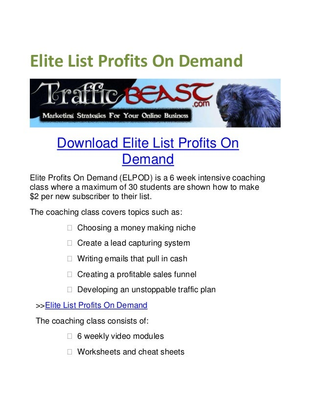 GET] Elite List Profits on Demand Review. Download
