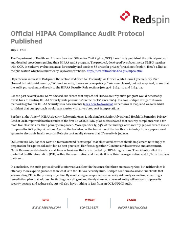 Official HIPAA Compliance Audit ProtocolPublishedJuly 2, 2012The Department of Health and Human Services' Offices for Civi...