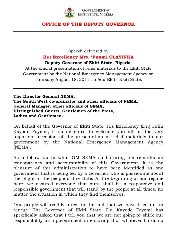Official presentation of relief materials to the ekiti state government by the national emergency management agency