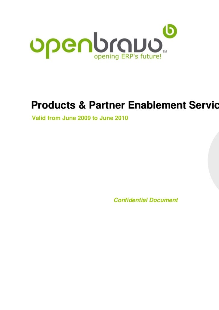 Official product & partner enablement services catalog for openbravo business partners