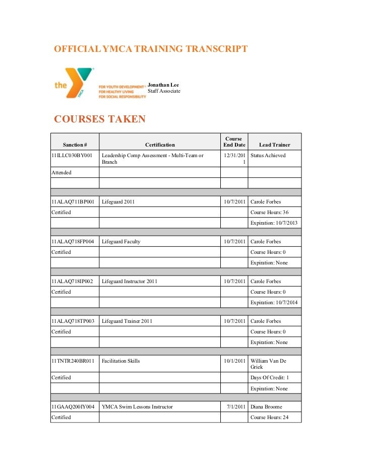 OFFICIAL YMCA TRAINING TRANSCRIPT                                         Jonathan Lee                                    ...