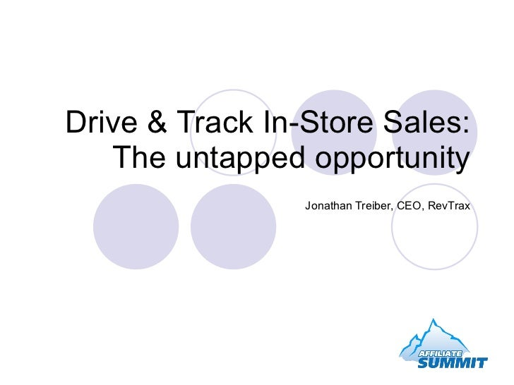 Drive & Track In-Store Sales: The untapped opportunity Jonathan Treiber, CEO, RevTrax