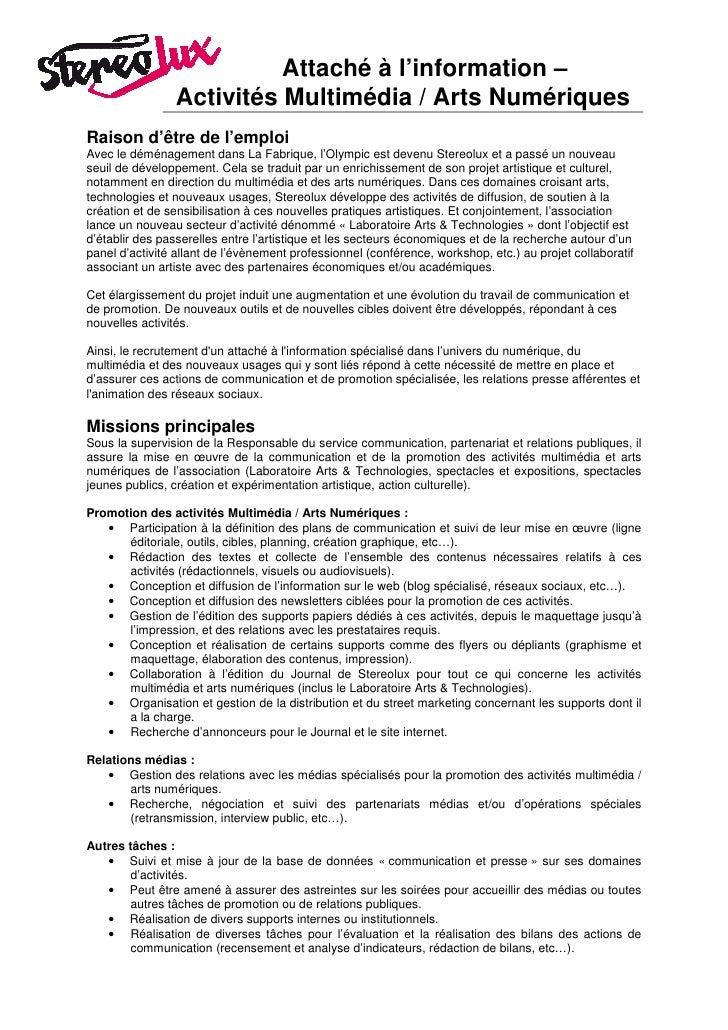 Offre emploi - Stereolux charge com sur activités multimédia