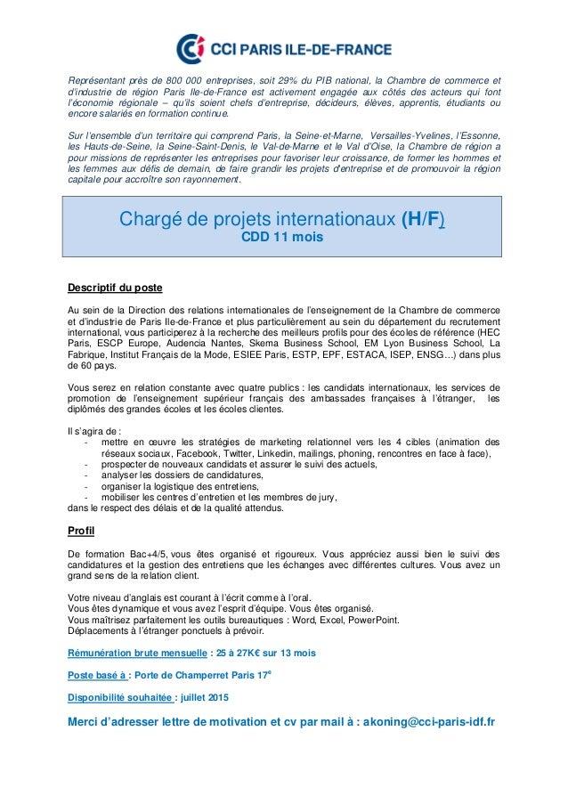Offre d 39 emploi charg de projets internationaux h f for Chambre de commerce de paris formation