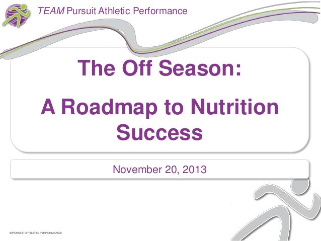 TEAM Pursuit Athletic Performance  The Off Season: A Roadmap to Nutrition Success November 20, 2013  © PURSUIT ATHLETIC PE...