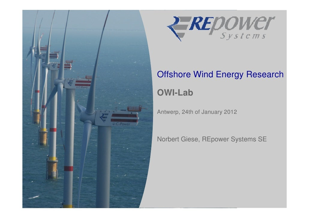 Offshore Wind Energy ResearchOWI-LabAntwerp, 24th of January 2012Norbert Giese, REpower Systems SE