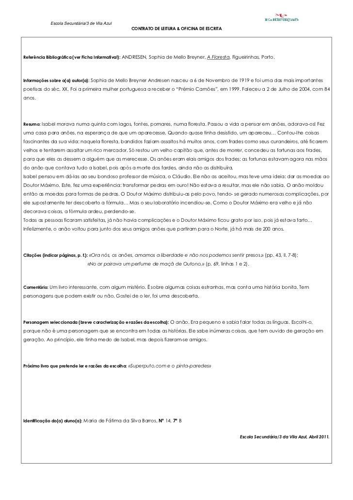 Escola Secundária/3 de Vila Azul                                                  CONTRATO DE LEITURA & OFICINA DE ESCRITA...