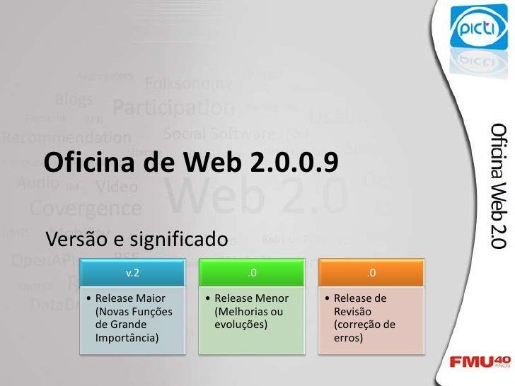 Oficina de Web 2.0.0.9<br />Versão e significado<br />