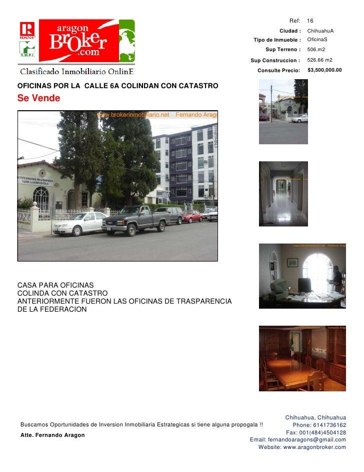Oficinas por calle 6a y casi mina por catastro for Oficina de catastro