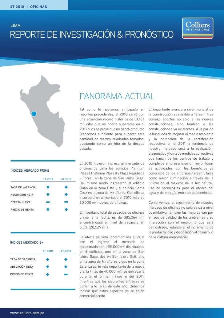 4T 2010 | ofICINASLimaREPORTE DE INVESTIGACIÓN & PRONÓSTICO                                       PANORAMA ACTUAL         ...
