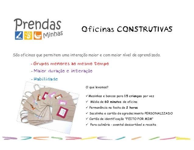 Oficinas CONSTRUTIVAS São oficinas que permitem uma interação maior e com maior nível de aprendizado. - Grupos menores ao ...