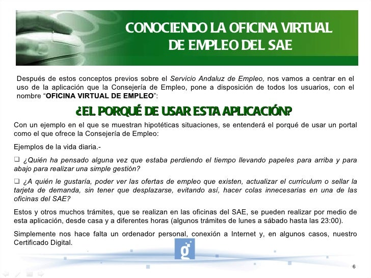 Oficina virtual de empleo sae - Oficina virtual de tramits ...