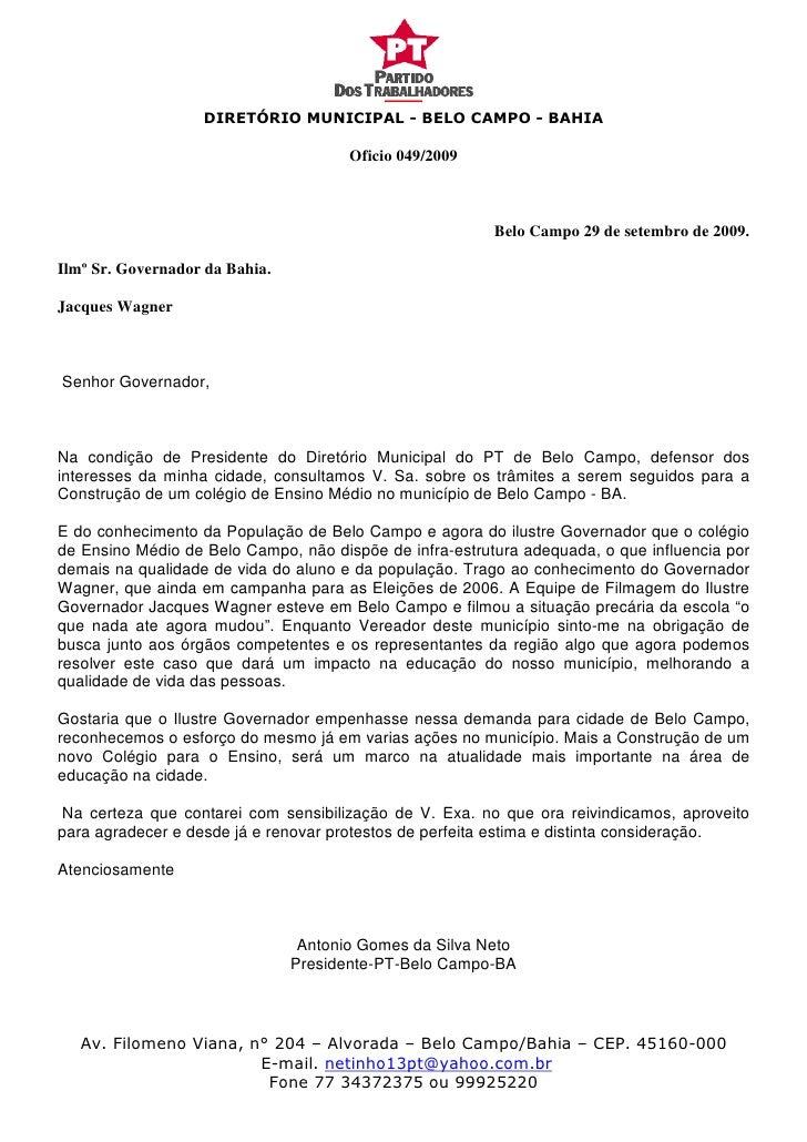 DIRETÓRIO MUNICIPAL - BELO CAMPO - BAHIA                                         Oficio 049/2009                          ...