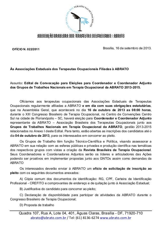 ASSOCIAÇÃO  BRASILEIRA  DOS  TERAPEUTAS  OCUPACIONAIS  –  ABRATO         ASSOCIAÇÃO  ...