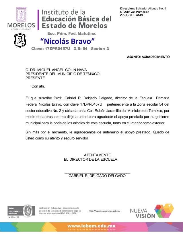Dirección: Salvador Allende No. 1                                                                         U. Admva: Primar...