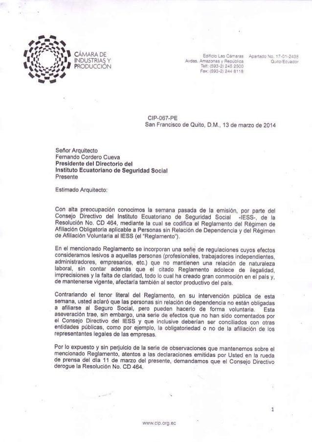 Oficio del sector industrial al presidente del directorio del iess fernando cordero