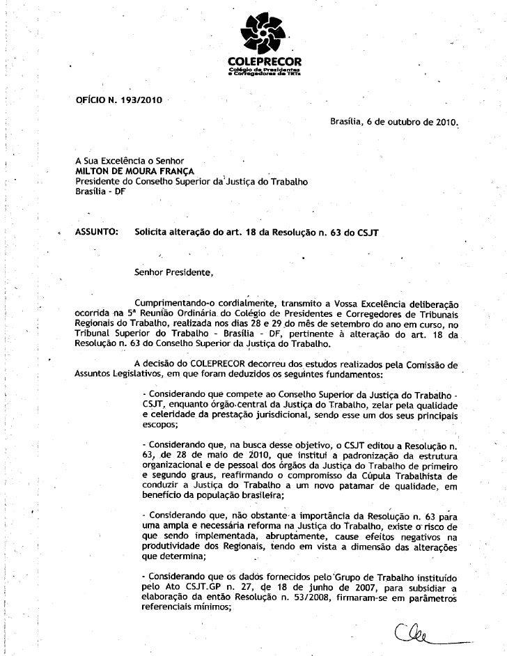 Oficio resol 63 coleprecor