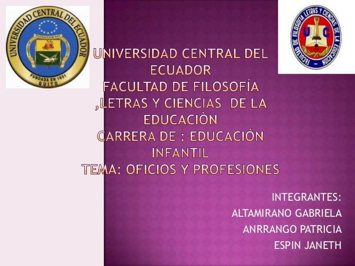 Oficios y profesiones  Gabriela Altamirano