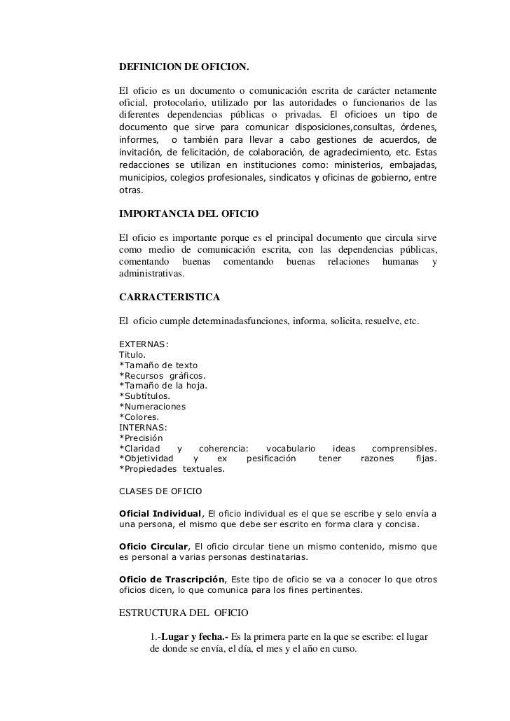 DEFINICION DE OFICION. <br />El oficio es un documento o comunicación escrita de carácter netamente oficial, protocolario,...
