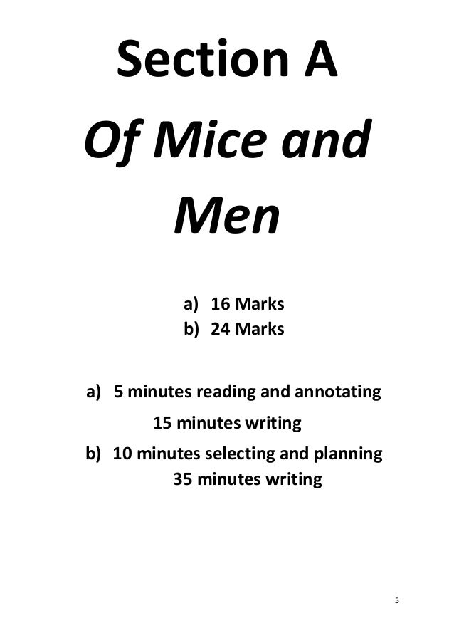 Essay questions for of mice and men