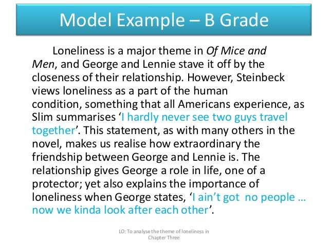 "of mice and men the theme of loneliness essay How does steinbeck present the themes of loneliness and isolation in the novel in the novel ""of mice and men"", john steinbeck highlight the effects of loneliness and isolation which arose from extreme discrimination that was prominent in the great depression george says, ""i seen the guys that go around on the ranches."