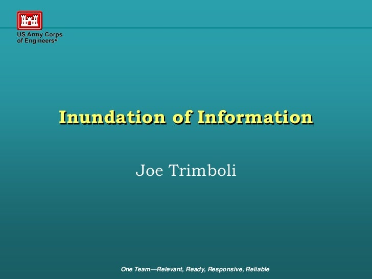 Inundation of Information          Joe Trimboli      One Team—Relevant, Ready, Responsive, Reliable